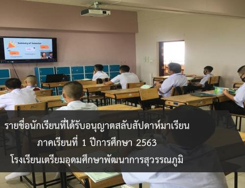 รายชื่อนักเรียนที่ได้รับอนุญาตสลับสัปดาห์มาเรียน  ภาคเรียนที่ 1 ปีการศึกษา 2563