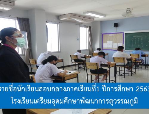 ห้องสอบและรายชื่อนักเรียนสอบกลางภาคเรียนที่1 ปีการศึกษา 2563