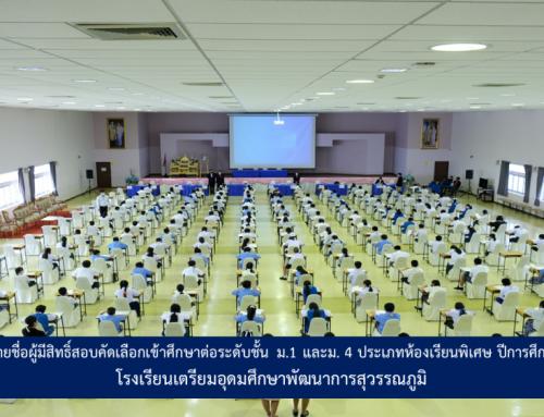 ประกาศรายชื่อผู้มีสิทธิ์สอบคัดเลือกเข้าศึกษาต่อระดับชั้น ม.1 และม. 4 ประเภทห้องเรียนพิเศษ ปีการศึกษา 2564