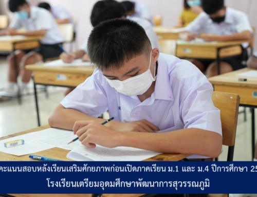 ผลคะแนนสอบหลังเรียนเสริมศักยภาพก่อนเปิดภาคเรียน ม.1 และ ม.4 ปีการศึกษา 2564